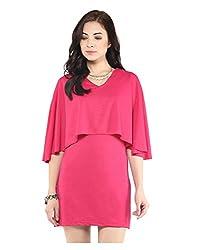 Yepme Short Cape Dress - Pink -- YPMDRES0173_L