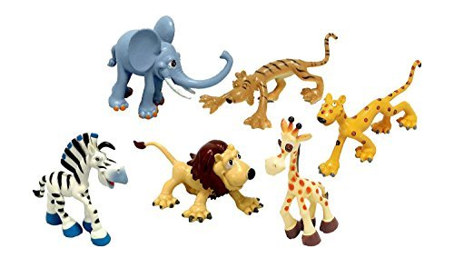 Cute Cartoon Zoo Animals - 6 Pieces