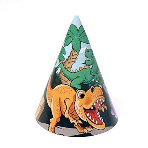 Dozen Dinosaur Dino Paper Birthday Party Hats With Chin Straps