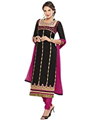 Women's Black & Pink Cotton Straight Fit Semi Stitched Salwar Suit