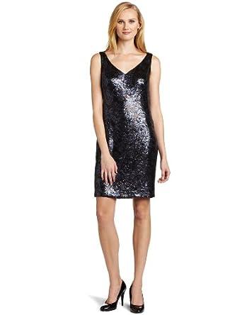 Jones New York Women's Swirl Sequin Sheath Dress, Black/Ink, 6