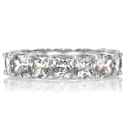 Kharlyn's Princess Cut CZ Eternity Band Ring .925 Genuine Engagement Sterling Silver Anniversary Ring Band Gift Boxed Size 8