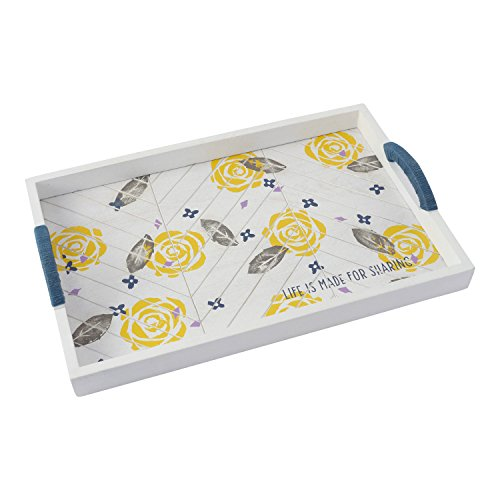 Hallmark Home White Washed Wood Chevron Rectangular Tray with Yellow Floral Design (Yellow Tray compare prices)