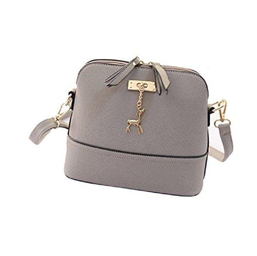Borsa Familizo Elegant Nuovo Donne Messenger Borse Vintage Piccolo Shell borsetta di pelle casual Borsa (Grigio)