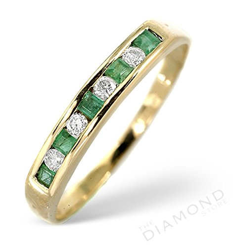 J R Jewellery 9k Yellow Gold Emerald & Diamond Eternity Ring From Jewellery Quarter London