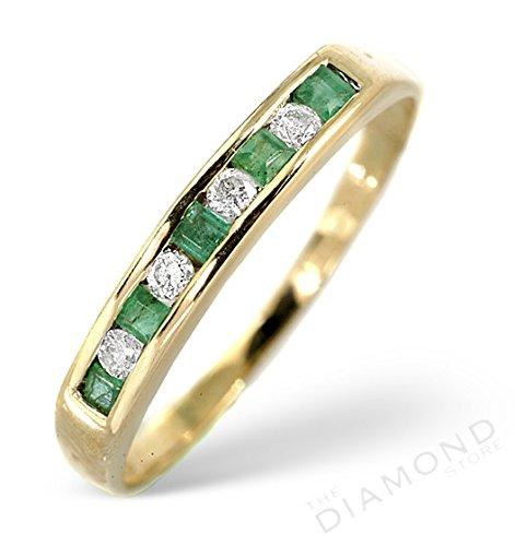 J R Jewellery 9k Yellow Gold Emerald & Diamond Eternity Ring From Jewellery Quarter London