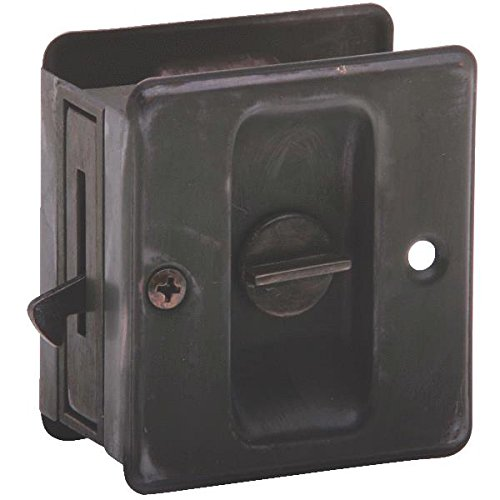"Schlage 991 1-3/4"" X 2-1/4"" Privacy Pocket Artisan Sliding Door Lock, Aged Bronze front-541479"