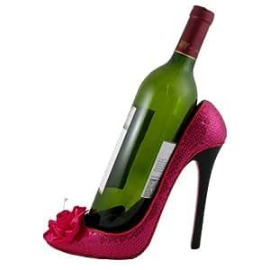 Rose Wine Bottle Holder Heel, Hot Pink