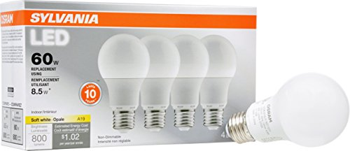 SYLVANIA, 60W Equivalent, LED Light Bulb, A19 Lamp, 4 Pack, Soft White, Energy Saving & Longer Life, Medium Base, Efficient 8.5W, 2700K (Osram Bulbs compare prices)
