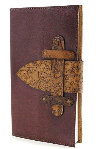 Embossed Leather Diario ufficiale taccuino Mano con Floral Copertina rigida copertura & 72 sfoderato Pagine ecologici