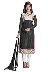 Manvaa Women's Black & White Embroidered Chudidar Dress Material
