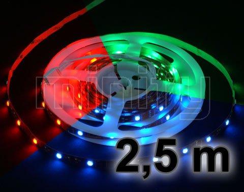 SET: RGB LED STRIP Leiste Band 2,5 METER - INKL. CONTROLLER, FERNBEDIENUNG UND NETZTEIL / MEHRFARBIG - MFYRGB-2.5