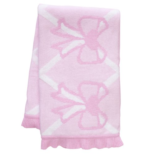 "Sweet Bow Blanket w/Ruffle Border. Pink. 30x40""."