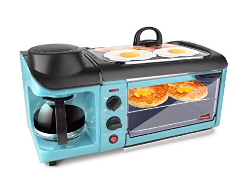 Elite EBK-1782BL Maxi-Matic 3-in-1 Deluxe Breakfast Station, Blue (Coffee Maker Toaster Oven Combo compare prices)