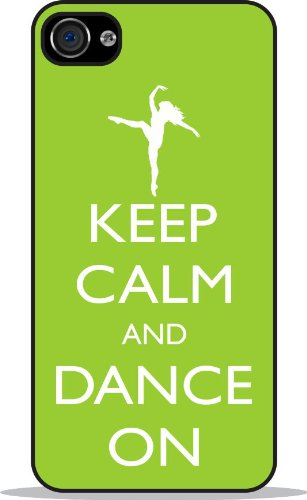 41lgfSHdL5L ^ Rikki KnightTM Keep Calm and Dance On   Lime Green Color Black Case Cover for Apple iPhone 4 / 4s Universal: Verizon   Sprint   AT&T Unisex (New 2013 case design) Get Rabate