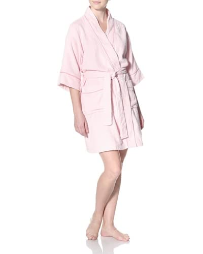 Aegean Apparel Women's Terry Loop Kimono Robe with Contrast Piping 36″