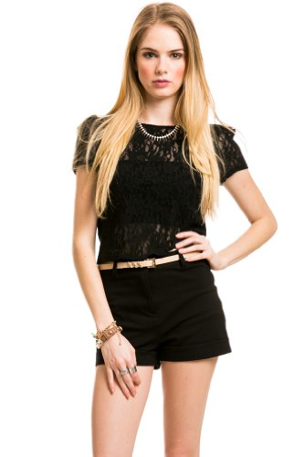 VIntage Lace Crop Top In Black