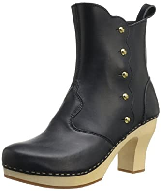 swedish hasbeens Women's Button Boot,Black/Nature,6 M US