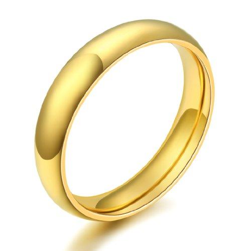JewelryWe Gioielli anello da uomo donna acciaio inox alta lucidato colore giallo-oro comodo cupola disegno matrimonio Band