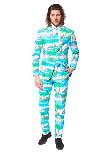 [OppoSuits Men's Flaminguy-Party / Costume Suit, Turquoise/Mixed, 46] (Do It Yourself Costumes 2016)