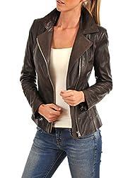 Syedna Brown Leather Women Biker Jacket