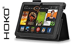 Kindle fire HDX 7 Case, HOKO Black Leather Flip Cover Book Case with Stand for Kindle fire HDX 7 (Auto sleep and wake Feature)