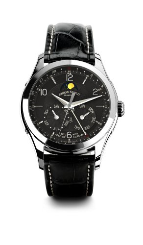 Armand Nicolet M02 9742B-NR-P974NR2 43mm Automatic Stainless Steel Case Black Leather Anti-Reflective Sapphire Men's Watch
