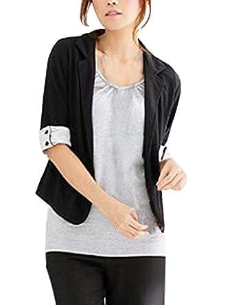 Women Single Button Closure Mid Sleeve Autumn Short Coat Black XS