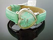 Swiss Aqua Master Lady Style Heart 0.50ct Diamonds Green Face and Band Watch