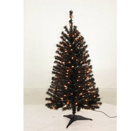 Black 4 Foot Pre-Lit Artificial Christmas Tree, with 225 Tips & 200 Warm Clear SureBright Lights [Free 2-Year Extended Warranty]