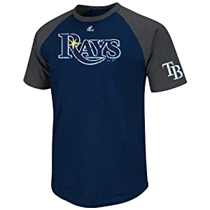 MLB Tampa Bay Rays Men's Big Leaguer Fashion Crew Neck Ringer Tee, Navy Heather/Charcoal Heather, Small
