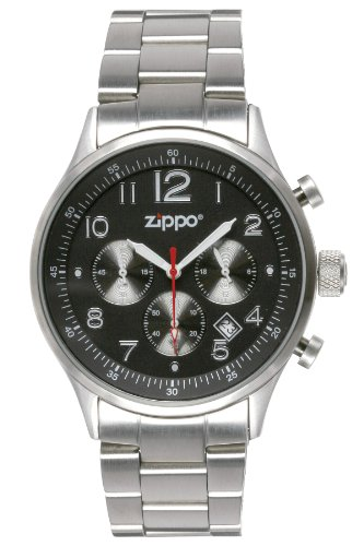 Zippo Sports Watch With Chronograph/Black Dial And Solid Stainless Steel Band, Black front-775509