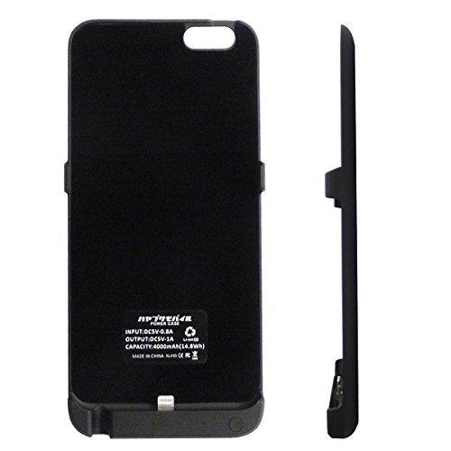 ハヤブサモバイル iPhone6/6S Plus用 大容量4000mAh モバイルバッテリー内蔵スリムケース [黒][イヤホン延長ケーブルと日本語取扱説明書付]