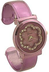 Geneva Women's Flower Bangle Watch with Rhinestone purple - 2