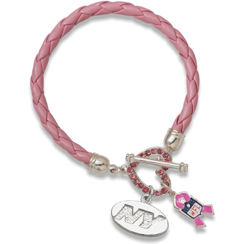NFL New York Jets Breast Cancer Awareness Support Bracelet, One Size Fits All, Pink Crystals at Amazon.com