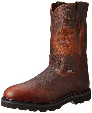 "Justin Original Work Boots Men's Premium & Light Duty 10"" Boot Round Toe Black Brown Rubber Outsole,Tan Premium,7 M US"