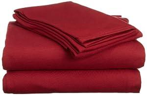 Hanes Jersey Knit Full Sheet Set, Deep Claret