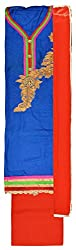 Royal Women's Cotton Unstitched Salwar Suit (Blue and Red)