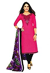 Salwar Studio Womens Cotton Unstitched Salwar Suit Dress Material (Sp-201 _Bright Pink & Black _Free Size)