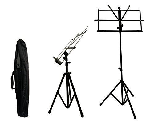 Black Adjustable Folding Music Stand with Carrying Bag