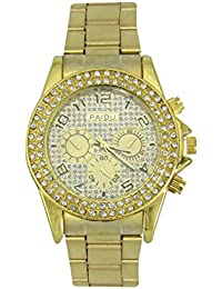 LegendDeal Paidu Golden Strap Analog Watch With Crystal Studed On Bezzle Proffesional Watch - For Men, Boys