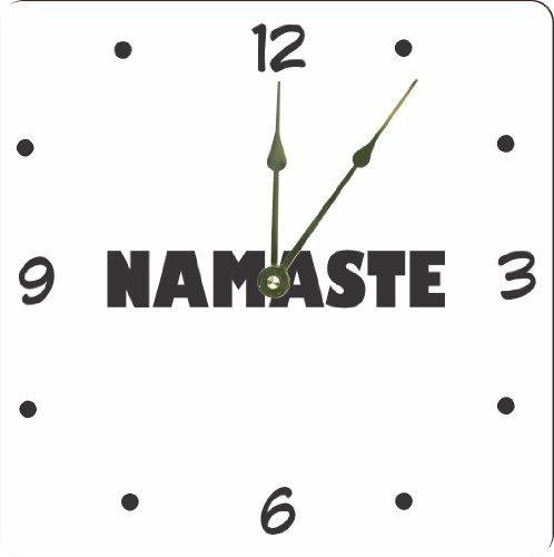 "Rikki Knighttm Yogi Namaste White On Black Color Design 10"" Art Wall Clock front-631929"