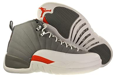 Mens Nike Air Jordan 12 Retro Basketball Shoes Cool Grey / White / Team Orange 130690-012
