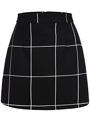 SheIn Women's Plaid Bodycon Mini Skirt - Black Large (Mini Skirt Dress compare prices)