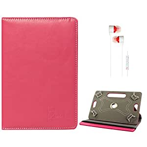 DMG Portable Foldable Stand Holder Cover Case for Iball Slide 7236 2g (Pink) + White Stereo Earphone with Mic and Volume Control