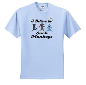 Dooni Designs I Believe In Designs - I Believe In Sock Monkeys - T-Shirts - Youth Light-Blue-T-Shirt Large(14-16)