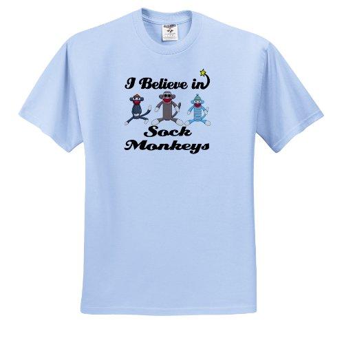 Dooni Designs I Believe In Designs - I Believe In Sock Monkeys - T-Shirts - Adult Light-Blue-T-Shirt Medium
