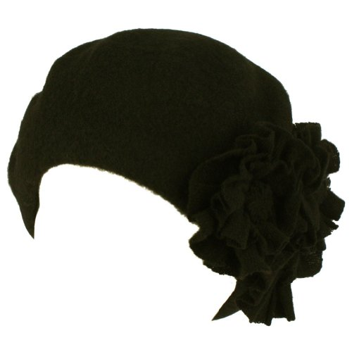 San Diego Hat Beret With Flowers (Black)
