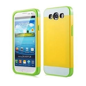 1X Hybrid TPU Silikon Strass Glitzer Hülle Hüllen Schutzhülle Tasche Etui Protection Case Protective Cover für Samsung Galaxy S3 S III I9300 I9305 - Lemon Gelb + Weiß + Grün