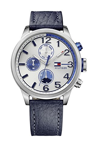 tommy-hilfiger-jackson-mens-quartz-watch-with-silver-dial-analogue-display-and-blue-stainless-steel-
